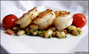 Grilled Shrimp over Pesto Beans