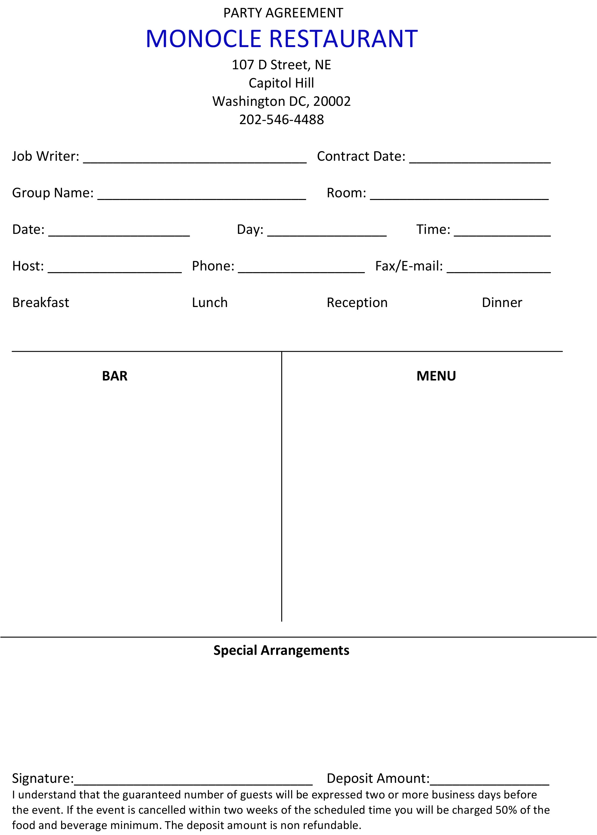 Party agreement the monocle print out fill out scan and email to monocleinfoaol platinumwayz
